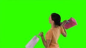 ChromaKeyvrouw het winkelen stock video