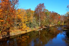 Chromatic Creek Views of Fall. Drift away to a place of serenity and visual exceess Royalty Free Stock Image