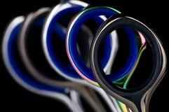 Chromatic scissors. A view of chromatic blue scissors Stock Photos