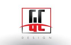 CHROMATOGRAPHIE GAZEUSE G C Logo Letters avec des couleurs et le bruissement rouges et noirs illustration stock