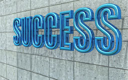 Chrome 3d success text Stock Photo
