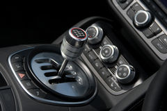 Chrome 6-speed gear shift. In luxury car royalty free stock photos