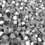 Chrome abstract heap of cubes backdrop. Contrast 3d rendering geometric polygons, as mirror wall. Interior room stock illustration