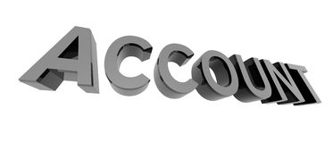 Chrome account. 3D render of reflective metallic text on a white background, account Royalty Free Stock Photos