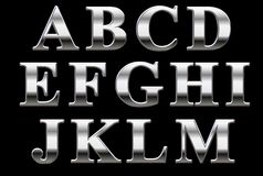 Chrome Alphabet. Times Roman Bold Metal Capital letters on black, A to M Royalty Free Stock Photos