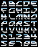 Chrome alphabet. On black background Royalty Free Stock Photography