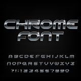 Chrome alphabet font. Beveled metal effect shiny letters and numbers. royalty free illustration