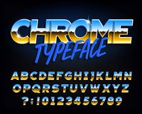 Chrome alphabet font. Chrome effect letters and numbers on dark background. vector illustration