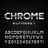 Chrome alphabet font. Metal effect italic letters and numbers. Royalty Free Stock Photos