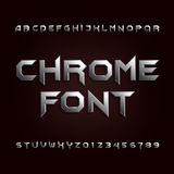 Chrome alphabet font. Metallic effect letters and numbers. royalty free illustration
