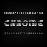 Chrome alphabet font. Metallic effect oblique letters and numbers on a dark background. Stock Images
