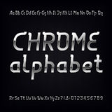 Chrome alphabet font. Modern metallic lowercase, uppercase letters and numbers Royalty Free Stock Image