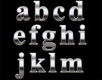 Chrome alphabet letters. Isolated on black background Stock Photo
