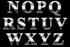 Chrome alphabet letters. Chrome alphabet letter isolated on black background Royalty Free Stock Photo