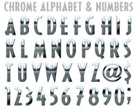 Chrome Alphabet and Numbers. Chrome Alphabet Numbers and Symbols vector illustration