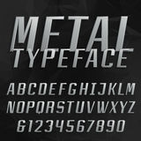 Chrome alphabet vector bold font. Royalty Free Stock Photography