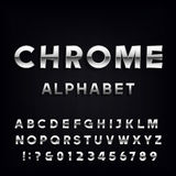 Chrome Alphabet Vector Font. Metallic type letters and numbers. Stock Photography