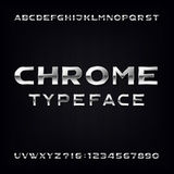 Chrome Alphabet Vector Font. Modern metallic bold letters and numbers Stock Photos
