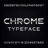 Chrome Alphabet Vector Font. Modern metallic letters and numbers Stock Photo