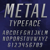 Chrome Alphabet Vector Font. Type letters and numbers. Royalty Free Stock Photos
