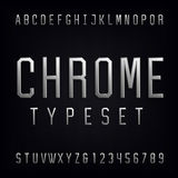 Chrome Alphabet Vector Font. Type letters, numbers and punctuation marks. Beveled metal effect letters on dark background. Vector typeset for headlines Royalty Free Stock Photography