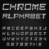 Chrome Alphabet Vector Font. Stock Photos