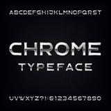 Chrome-Alphabet-Vektor-Guss Moderne metallische Buchstaben und Zahlen Stockfoto