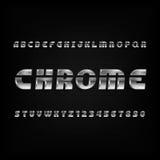 Chrome-Alphabetguß Schiefe Buchstaben und Zahlen des metallischen Effektes auf einem dunklen Hintergrund Stockbilder
