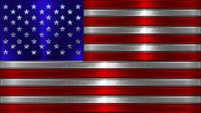 Chrome amerikanska flagganillustration Fotografering för Bildbyråer