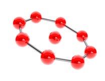Chrome-Atom, Molekül-Ikone Wiedergabe 3d Stockfotos