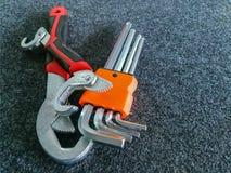 Chrome, attrezzatura, ferro - metallo, chiave, meccanico fotografia stock