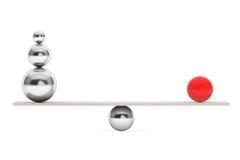 Chrome Balancing Balls over Wooden Board Stock Photos