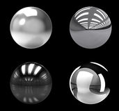 Chrome balls group on black background. Chrome balls group isolated on black background vector illustration