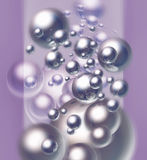 Chrome balls in motion. On light purple background vector illustration