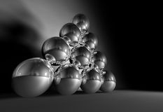 Chrome balls on parade. 3D image of 10 chrome balls vector illustration