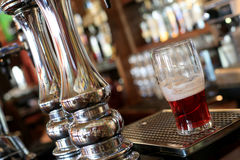 Chrome beer taps. With highlights in the pub Royalty Free Stock Photography