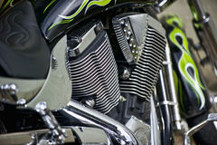 Chrome bike. Close-up view of a chrome motorcycle Royalty Free Stock Images