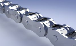 Chrome bike chain. Chrome bike or motorcycle chain rendering Royalty Free Stock Photos