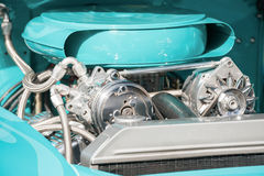 Chrome and blue engine bay Royalty Free Stock Photo