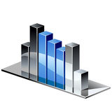 Chrome blue graph Royalty Free Stock Image