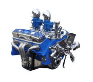 Chrome and Blue V8 Classic Car Engine. Car engine isolated on white, blue with chrome fan, covers and air intakes stock images