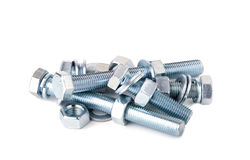 Chrome Bolts and Nuts  Royalty Free Stock Photography