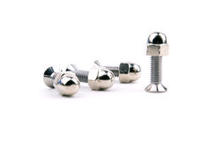 Chrome bolts with spherical nut Royalty Free Stock Photos