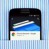 Chrome browser on the Samsung galaxy display Stock Photo