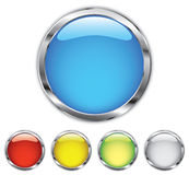 Chrome button. Colored round buttons with chrome trim royalty free illustration