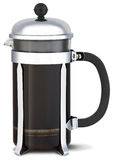 Chrome cafetiere coffee jug on a white background Stock Photo