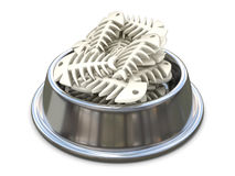 Chrome cat bowl with bones. 3D. Render illustration  on white background Stock Images