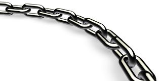 Chrome chain. Isolated chrome chain on a white Stock Images