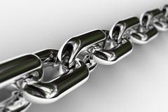 Chrome Chain. Closeup of a few links of a chrome chain with very shallow depth of field royalty free stock images