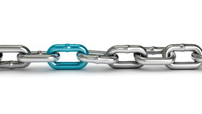 Chrome chain with a blue link. On white background Stock Images